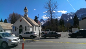 Canmore view from Grizzly Paw Pub